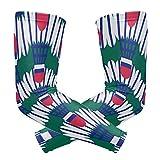 Jiajia - Mangas protectoras para el brazo para hombre, para ejercicio, divertido, deporte, bádminton, diseño de balón de hielo, seda para protección solar, para hombres, mangas de brazo de bicicleta, secado rápido, transpirable, 2 unidades