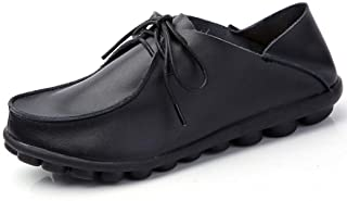 [WOOYOO] カジュアルシューズ レディース レースアップ フラットシューズ 革靴 ドライビング 婦人靴 2way履き方 サンダル クッション おじ靴 ミュール 軽量 通気 日常着用 柔らかい 黒