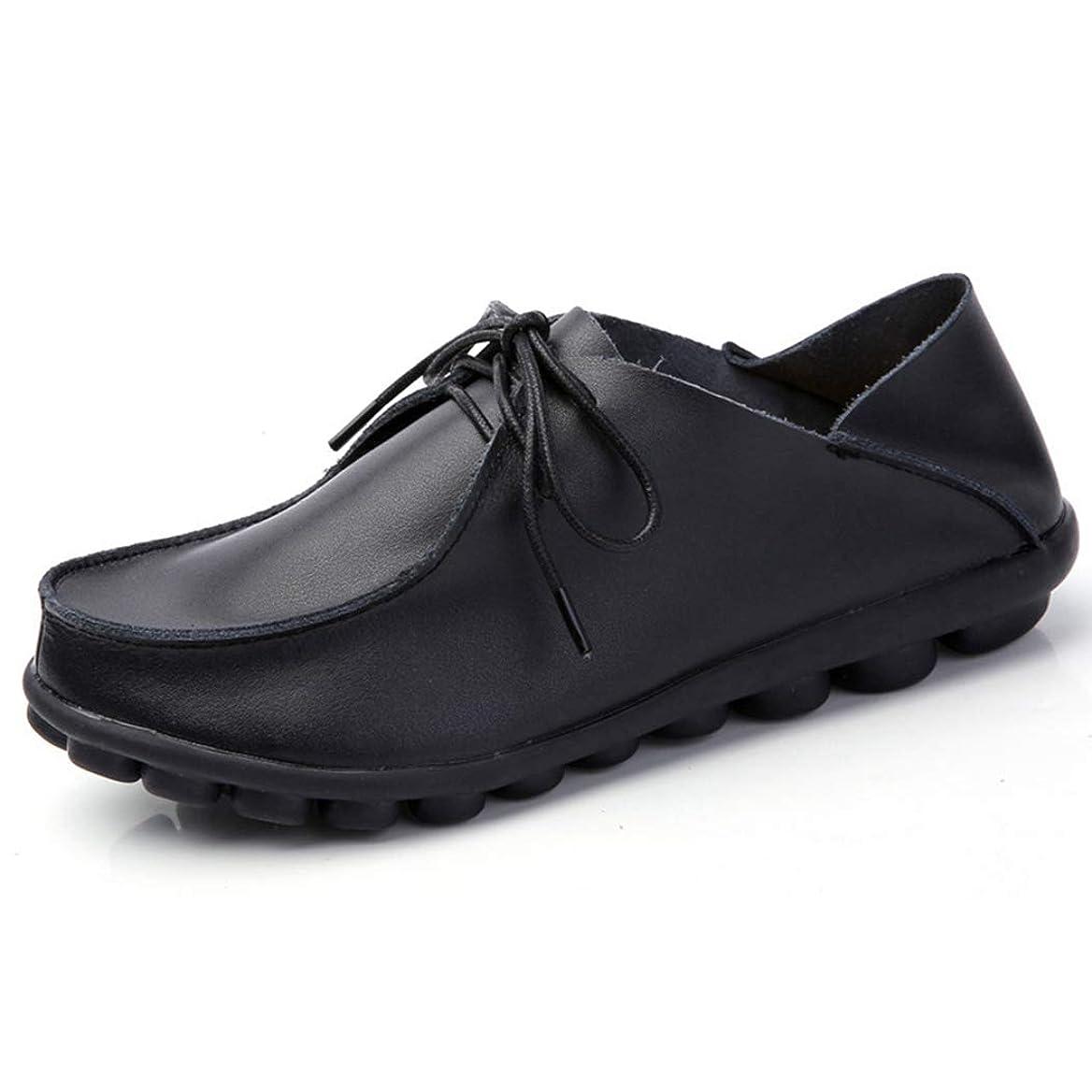 ポルティコピニオン業界[WOOYOO] カジュアルシューズ レディース レースアップ フラットシューズ 革靴 ドライビング 婦人靴 2way履き方 サンダル クッション おじ靴 ミュール 軽量 通気 日常着用 柔らかい 黒