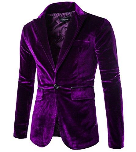 Rlouw Mens Stylish Peaked Lapel Blazer Jacket Purple
