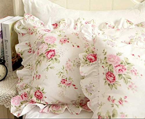 Kolachic Country Rose Roses Pink Floral Print Pillowcases Shabby Chic Vintage Ruffles Bedding Pillow Covers Cotton Fabric Material Standard