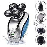 Rasoir tête Chauve, 5 en 1 IPX6 rechargeable USB imperméable 5D trousse de toilettage de tondeuse rotative avec 5 têtes flottantes, tondeuse pour poils de nez rasoir électrique pour rasoir pour homme