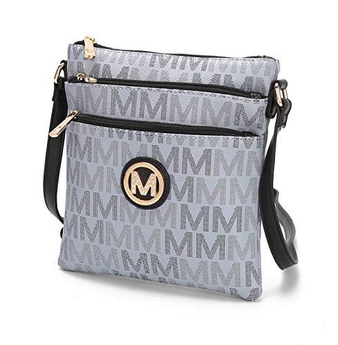 MKF Crossbody Bag for Women – PU Leather Triple Zip Messenger Handbag – Crossover Purse Pocketbook, Shoulder Strap Grey