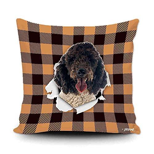 Funda de almohada a cuadros de búfalo naranja y negro con My Love Dog Portugués Water Dog Decoración del hogar, funda de cojín divertida para sofá, dormitorio, 50,8 x 50,8 cm, impresión de doble cara