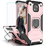YmhxcY case for Moto G Power 2021 Case,Motorola G Power 2021 case with HD Screen Protector,Cases with Rotating Holder Kickstand Non-Slip Hybrid Rugged Case for Moto G Power 2021 6.6'-KK Rose Gold