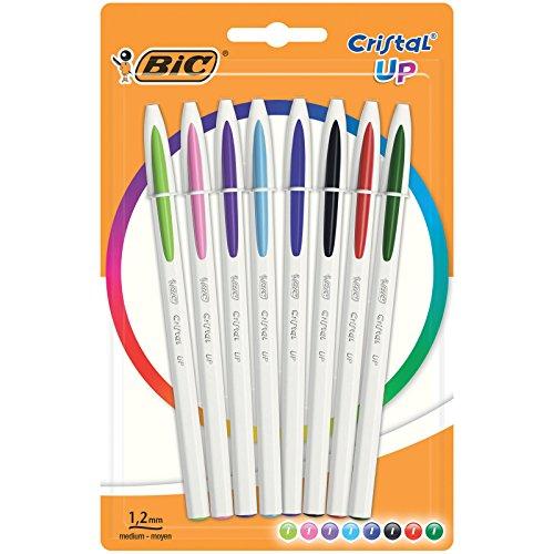 BIC Penne a Sfera, Cristal Up, Colori Assortiti, Punta Media (1.2 mm), Confezione da 8 Penne, Fornitura per Cancelleria Scuola