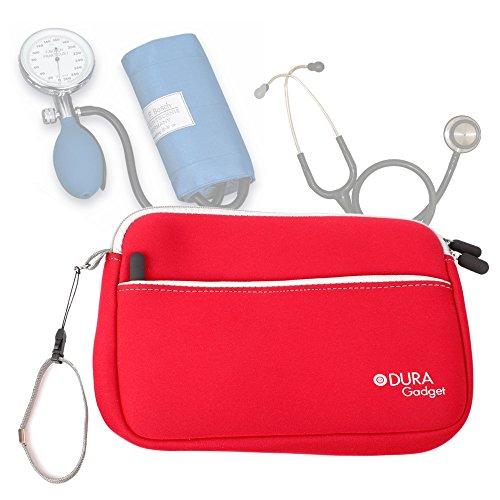 DURAGADGET Estuche De Neopreno Rojo para Guardar Sus Accesorios Médicos (Estetoscopio/Tensiómetro) | Resistente Al Agua