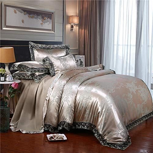 Plumón de Ganso con Funda ,Juego de funda nórdica de satén sedoso, sábanas de esquina redondeadas para dormitorio, funda de almohada de encaje para cama individual doble king F 200 * 230cm (4pcs)