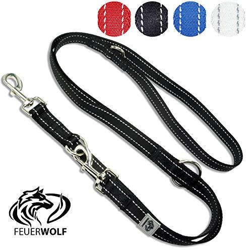 FEUERWOLF Hundeleine 3-fach verstellbar - Doppelleine - Mittlere und große Hunde - Robust und stabil - Beidseitig reflektierend - 2,2m lang - Schwarz