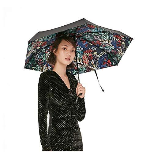 Sonnenschirm Sonnenschutz Kleiner Schwarzer Regenschirm Taschenschirm Weiblicher Anti-UV Leidenschaftlich, Antike Und Seltsame, Neue Serie (Color : Plant)