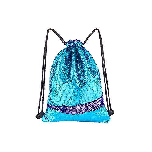 iweed Meerjungfraue Pailletten Tasche Kordelzug Rucksack Turnbeutel Wende Pailletten Tanztasche Kinderrucksäcke Glitzernde Outdoor Schultasche für Mädchen Kinder(Blau Lila)