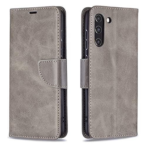HSRWGD Funda tipo cartera para Samsung S21 FE 5G, a prueba de golpes, suave TPU (gris)