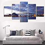 SYLSBAZGYS 5 Panels Seascape Painting Moderne Wandkunst Leinwand Segelbilder Wandbilder für Wohnzimmer Wohnkultur No Frame-20x30_20x40_20x50cm