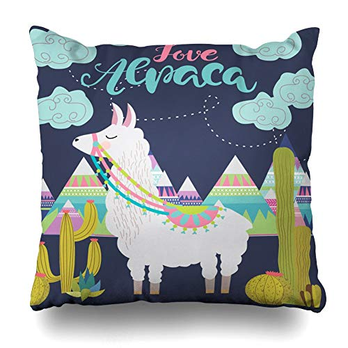 JIMSTRES Decorativepillows Case Throw Pillows Covers for Couch/BedLove Alpaca Card Holiday Cute Llama Cactus Editable Home Sofa Cushion Cover Pillowcase Gift 22x22 inches