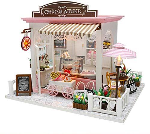 Miniatur DIY Puppenhaus,DIY Mini House Cocoa Wundervolle Gedanken Haus Puppenhaus Kit Für Erwachsene, Puppenhaus Miniatur Mit Möbeln Puppenhaus Hütte Weihnachten Geschenk Für Jungen Und Mädchen