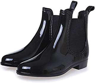 Women Faux Leather Chelsea Ankle Boots Round Toe Slip On Casual Low Heel Rain Short Bootie