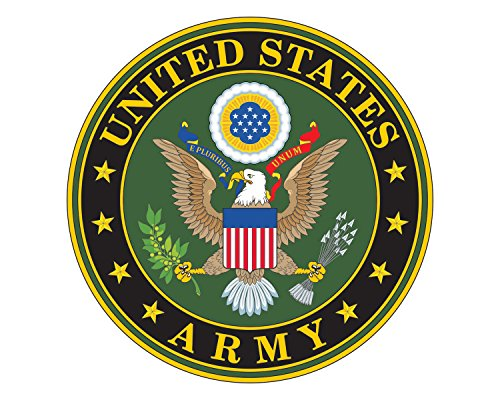 Army Seal Logo U.S. Army Emblem Military 5 Round Vinyl Decal Sticker for Cars Trucks Laptops etc...(Full Color)