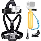 VVHOOY Action Camera Head and Chest Strap Mount with Floating Handle Grip Compatible with Gopro Hero 9 8 7 6 5/Campark/AKASO EK7000 Brave 4 5 6 Plus 7 LE Action Camera