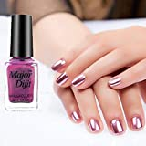 Naladoo Nail Art Beauty Tools,Mirror Nail Polish Plating Paste Metal Color Stainless Steel Mirror Silver Nail Polish for Nail Art (Pink)