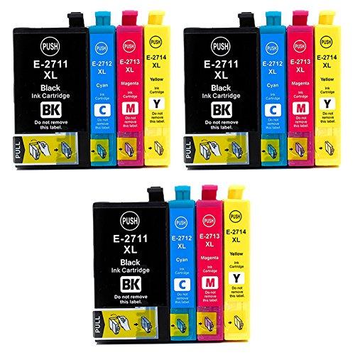 Teng® 27XL - Cartuchos de tinta para Epson Workforce WF 3620 WF 3640 WF 7610 WF 7620 WF 7110 WF 7715 WF 7720 WF 7210 (3 negros, 3 cian, 3 magenta,3 amarillo)