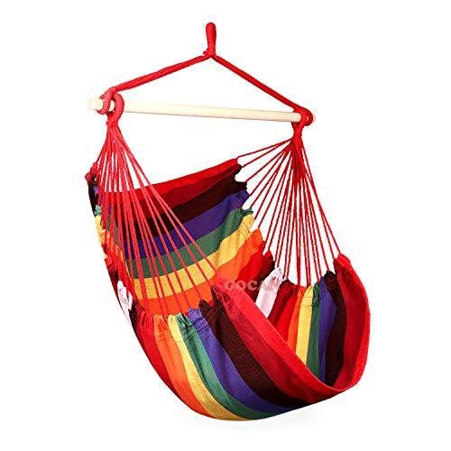 GOCAN Hamaca silla super grande colgante silla suave algodón barra esparcidor asiento ancho silla oscilante (arco iris) sin almohada