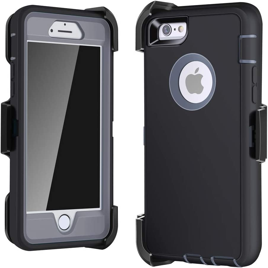 LTifree Defender Case for iPhone 6/6s, Holster with Belt Clip, Screen Protector, Kickstand, Shockproof Buffer, Retail Packing, Gray Color