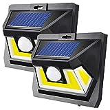 Solarlampen für Außen mit Bewegungsmelder【Hohe QualitätStarkes Starkes COB LED-1000Lumen】Solarleuchte Aussen 2200mAh Solar Wasserdichte Wandleuchte LED Solarlicht für Garten-2 Stück
