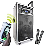 Vonyx ST-100 MK2 mobile Soundanlage mit Bluetooth (250 W Leistung, CD-Player USB SD MP3, 2 Funkmikrofone)