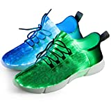 Shinmax Zapatillas Fibra Optica, Zapato LED 7 Colores 4 Modos Recargables USB Zapatos Deportivos Súper Ligeros para Hombre y Mujer
