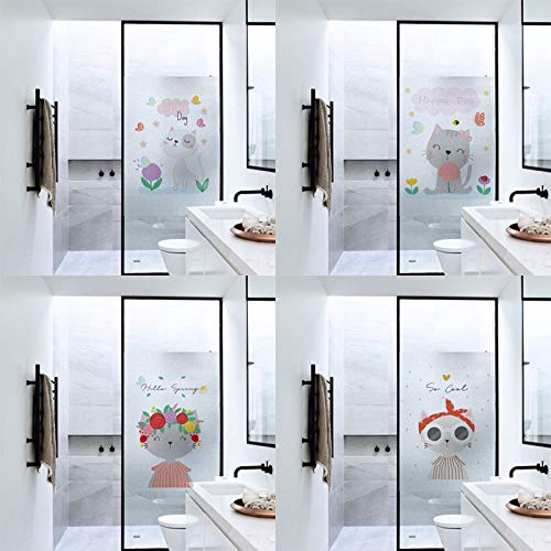 Piero Frosted Privacy Stained Glass Film Transfer Vinyl Window Stickers Shower Door Film No Glue, 50x90cm