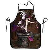 Delantal de Hadas para Lavar Platos Diseño de Criatura mítica Tridimensional con artefacto mágico en Pedestal Delantal de Bosque Reutilizable Multicolor