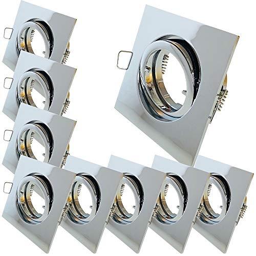 9 Stück Decken Einbauleuchte Cube 12 Volt Ohne Leuchtmittel Schwenkbar inkl. Fassung G5.3 Chrom