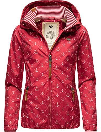 Ragwear Dizzie Marina - Giacca impermeabile da donna con cappuccio, taglia XS-XXL rosso M