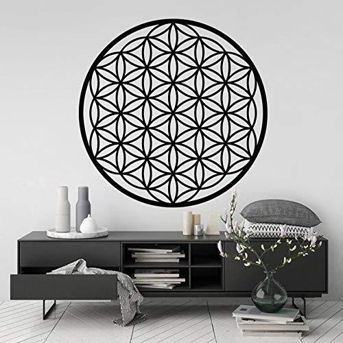 Calcomanía una flor de la vida geometría sagrada modelado geométrico dormitorio hogar Yoga decoración símbolo espiritual vinilo arte pared pegatina línea círculo mandala