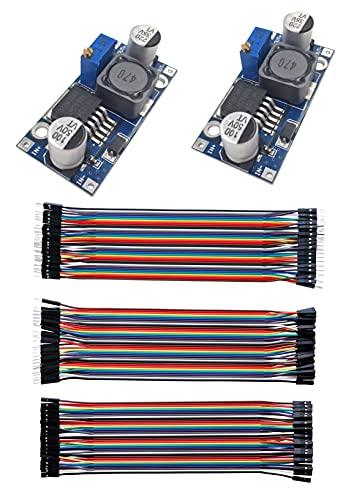 LM2596 Stromwandler mit 40-poligem mehrfarbigem Draht, DC auf DC 3,0-40 V auf 1,5-35 V Step-Down-Netzteil, Spannungsregler-Modul für Arduino Starter Steam Kit, elektrische Porducts, DIY