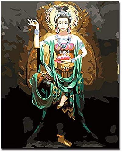 salida para la venta KYKDY Marco pintura al óleo óleo óleo de DIY por números pintados a mano Dunhuang Feitian Buddha Kits de imágenes para Colorar sobre lienzo decoración para el hogar arte de la parojo, 40x50cm marco DIY  Entrega rápida y envío gratis en todos los pedidos.