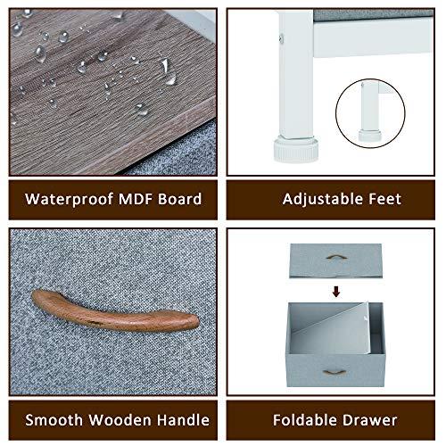 8 Drawer Dresser Organizer Fabric Storage Chest for Bedroom, Hallway, Entryway, Closets, Nurseries,Furniture Storage Tower Sturdy Steel Frame, Wood Top, Removable Fabric Bins (Beige/Light Gary)