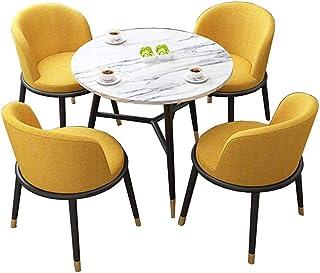 Table de salle à manger, table de salle à manger de jardin et balcon de bureau rond moderne simple et table à cadre en mét...