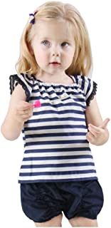 BiBiWorld Baby Girls Clothes Stripe Fly Sleeve Tops Ruffled PP Shorts 2 Pcs Toddler Outfits Set