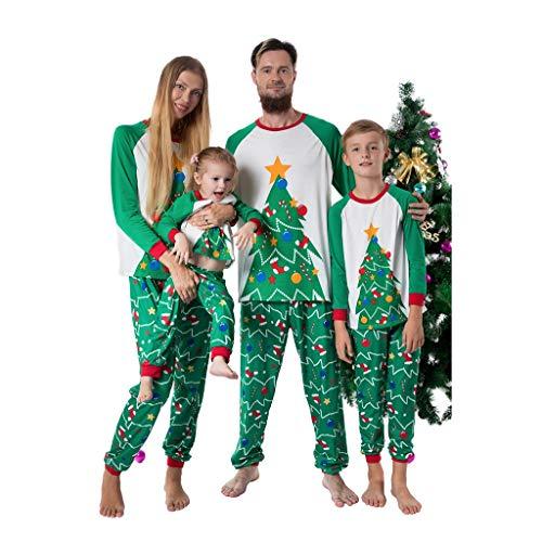 Familieoutfit Kerstmis Dasongff pyjama voor het hele gezin winter Kerstmis pyjama outfit set heren kinderen meisjes pyjama nachtkleding lange mouwen shirt en pyjamabroek 120 groen/kinderen.