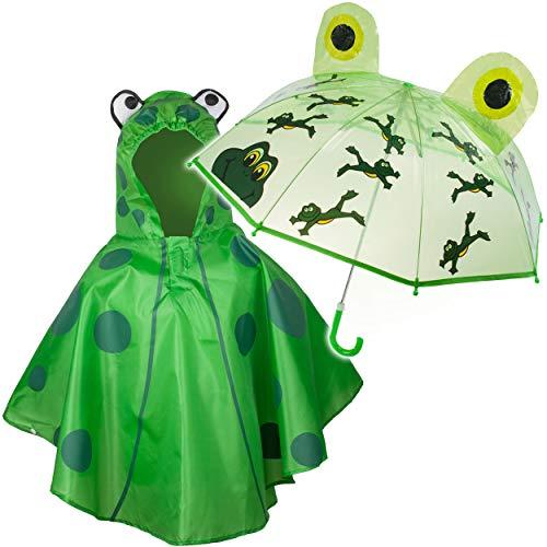 alles-meine.de GmbH 2 TLG. Set: 3D Effekt - Regenschirm + Regenponcho - lustiger Frosch - Kinderschirm - Ø 77 cm - Regencape - Kinder - 2 bis 6 Jahre - Stockschirm - durchsichtig..