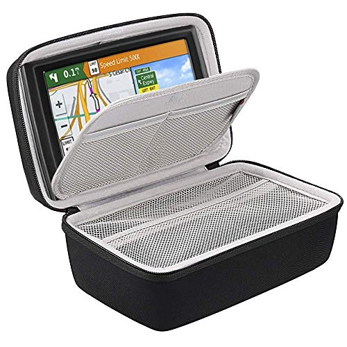 BOVKE Hard GPS Case for 6-7 Inch Garmin DriveSmart 65/61 LMT-S, Nuvi 2797LMT Drive 61/60 Nuvi 2757LM GPS Navigator System, Extra Room for Car Charger, Friction Mount, USB Cable and Accessories, Black