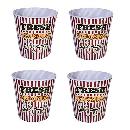Invero - Juego de 4 Cubos de plástico para Palomitas de maíz (tamaño Familiar, 2,8 litros)
