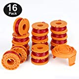 YWTESCH Replacement Trimmer Spool Line for Worx, 17 Pack (16 Pack Grass Trimmer Line, 1 Trimmer Cap)
