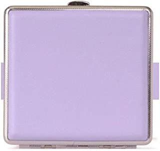SLY Cigarette Box Gift Cigarette Case Can Hold 20 Cigarettes, Metal + PU Leather Material,Size 9.7 * 9.4 * 1.9 cm, Multiple Colors (Color : Purple, Size : 9.4 * 7.0 * 1.9cm)