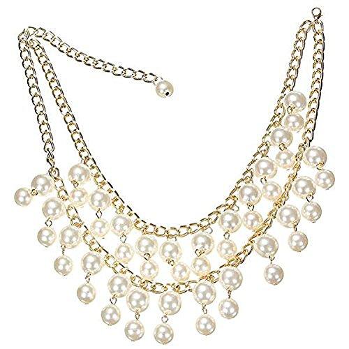 SODIAL(R) Halskette Collier Statement Two Broke Perle Perlen Kette Caroline Occident Style Trend Frauen Mehrschicht Charms