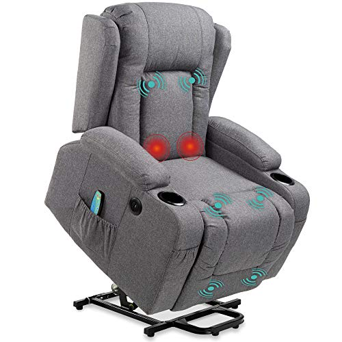 Best Choice Products Electric Power Lift Linen Recliner Massage Chair, Adjustable Furniture for Back, Lumbar, Legs w/ 3 Positions, USB Port, Heat, Cupholders, Easy-to-Reach Side Button - Gray