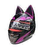 YGFS Damen Erwachsenen Motorradhelm Four Seasons Universal Abnehmbare Katzenohren Full Face Motorrad Offroad Helm (schwarz Pink)