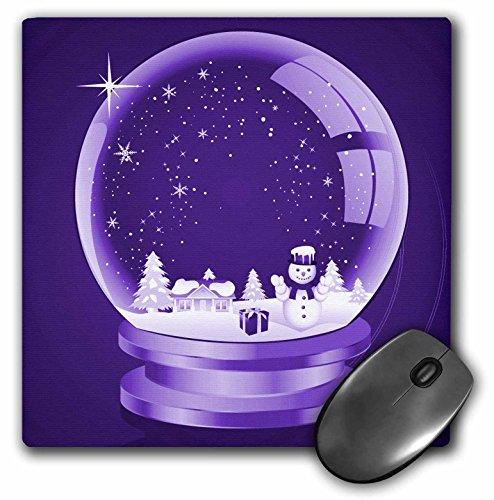 3drose LLC 20,3 x 20,3 x 0,6 cm A Christmas Snow Globe illustratie op een lila achtergrond muismat (MP 153128 1)