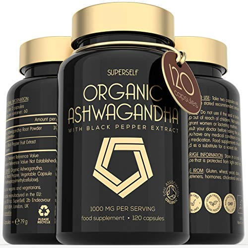 Organic Ashwagandha Capsules - 1000mg Ashwanghanda Root Powder per Serving - 120 Vegan Ashwaganda Tablets with Black Pepper Extract - High Strength Natural Supplement - Certified by Soil Association